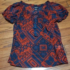 Lucky Brand pattern lightweight sheer top EUC